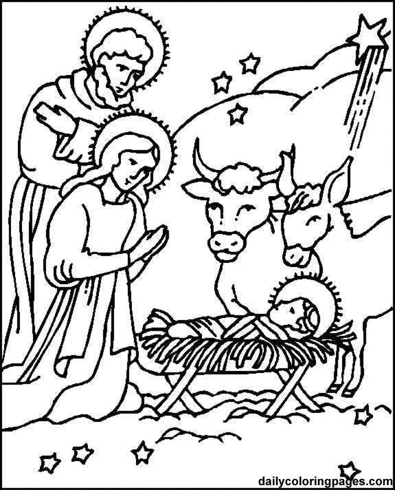 575x712 Christmas Story Nativity Scene Coloring Page For