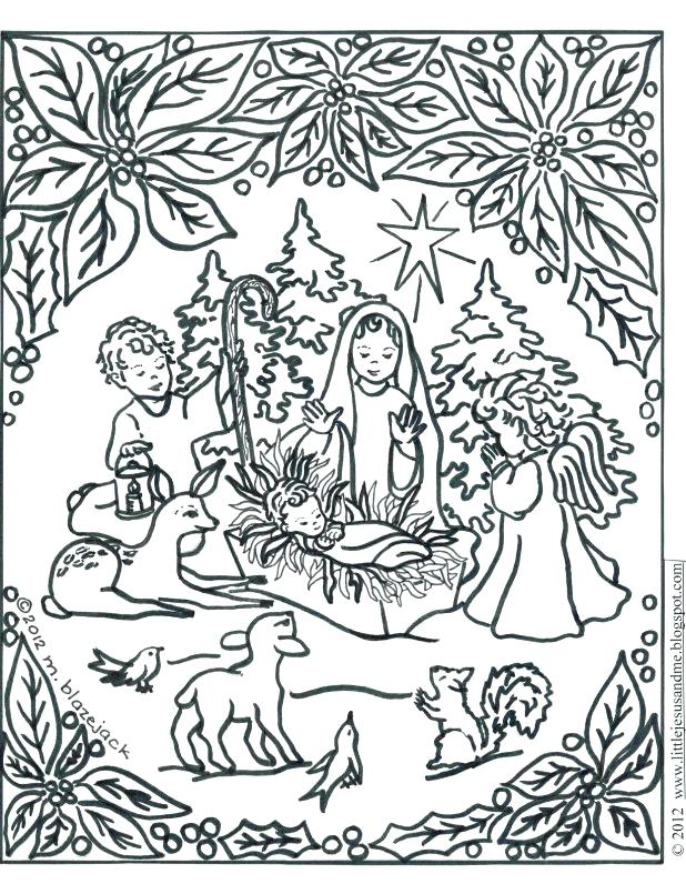 618x805 Coloring Pages Printable Manger Scene Christmas Nativity