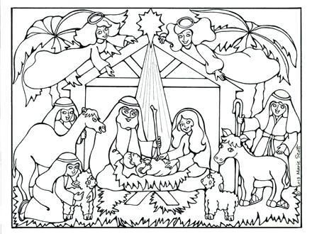 440x330 Manger Scene Coloring Page Nativity Scene Coloring Page Precious