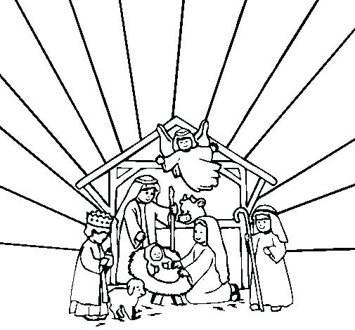 505x470 Manger Scene Coloring Page Precious Moments Nativity Coloring