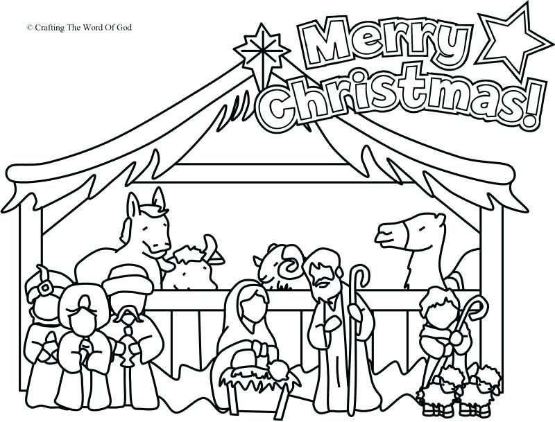 800x609 Nativity Scene Coloring Pages Printable Free Page A Crafting The