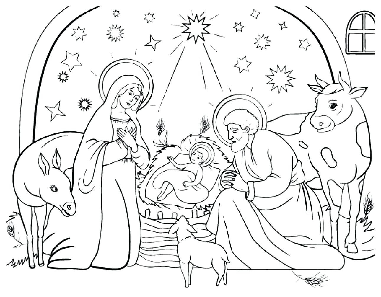 1290x1006 Coloring Coloring Nativity Scene Pages Printable Manger. Coloring