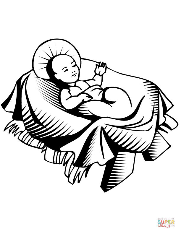 612x792 Baby Jesus Manger Scene Coloring Page Free Printable Pages