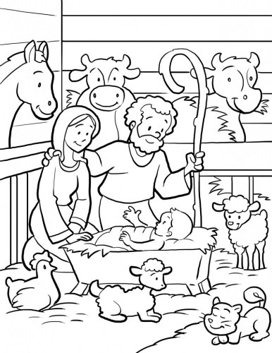 386x500 Christmas Nativity Scene Coloring Page