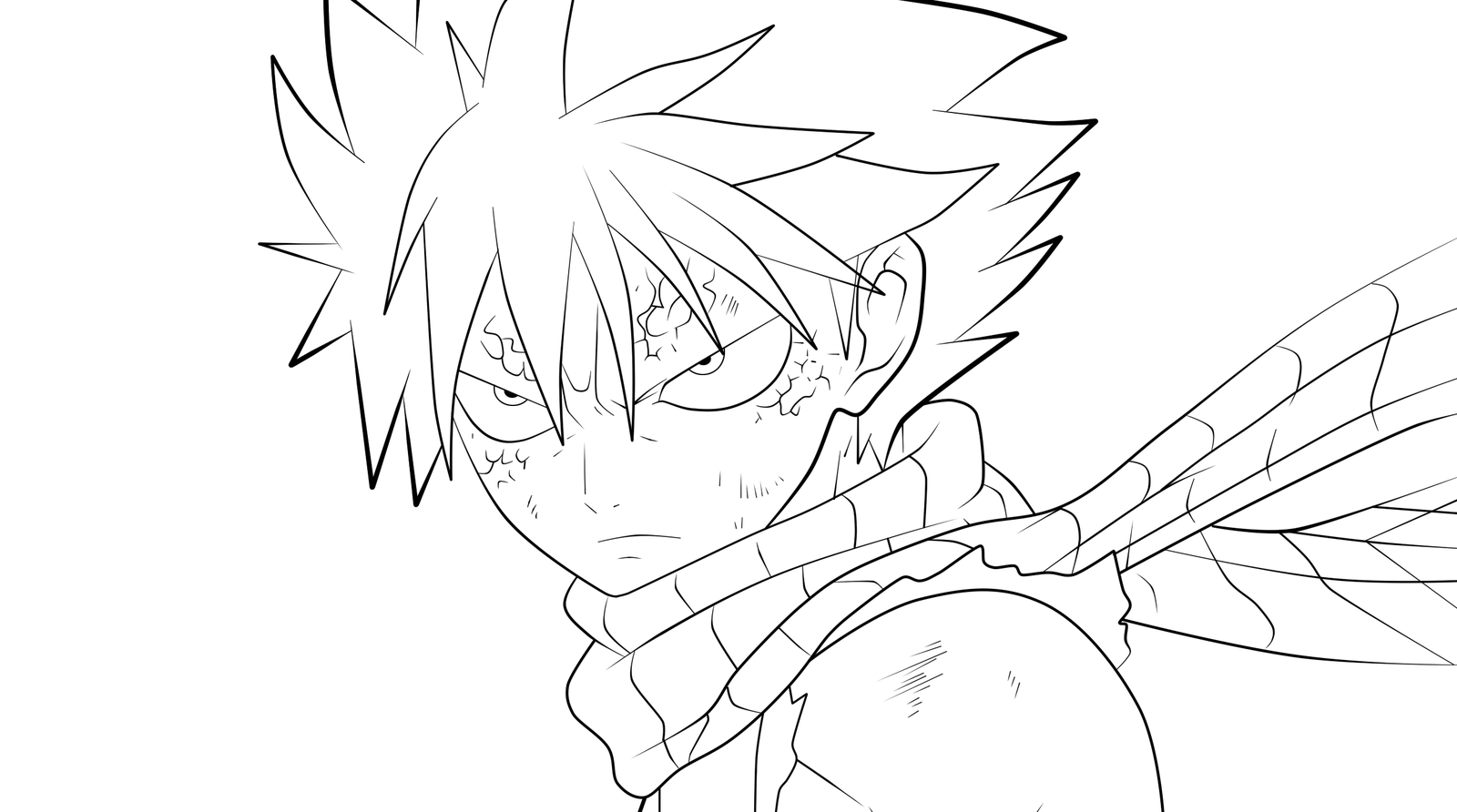 1600x892 Angry Natsu Lineart By Imran Ryo