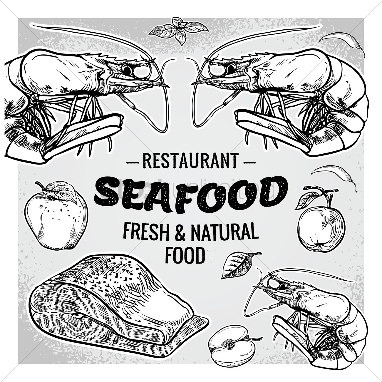 1300x1300 Seafood Restaurant With Fresh And Natural Food Vector Image
