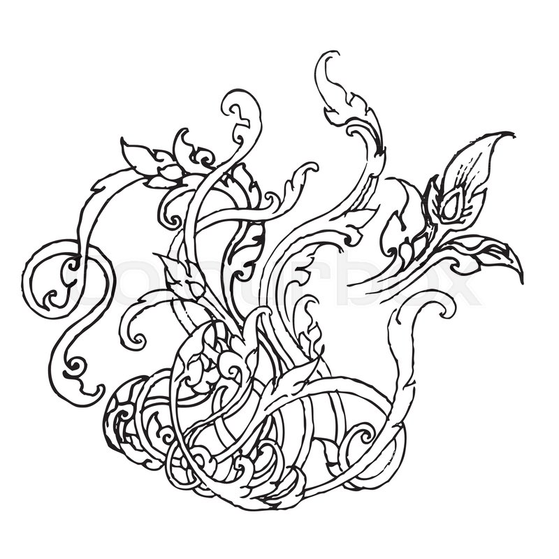 800x800 Sketch Illustration Of Natural Ornament In Thai Style, Doodle Hand