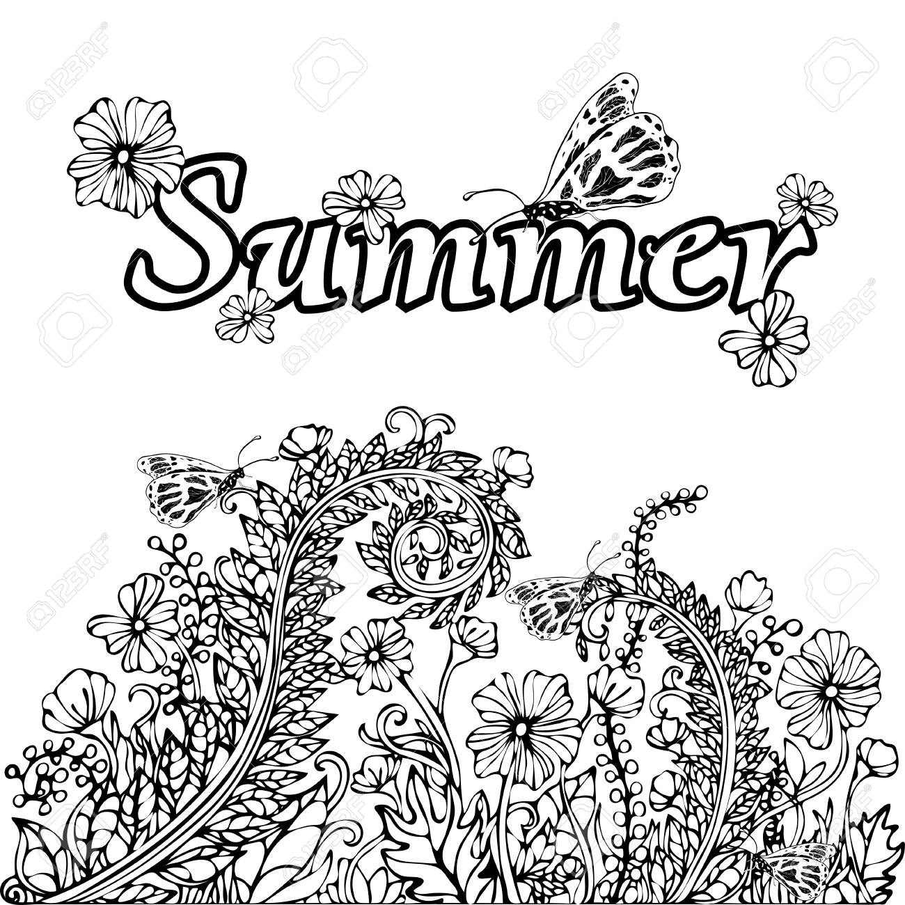 1300x1300 Summer Abstract Landscape, Coloring Book, Hand Drawing Sketch