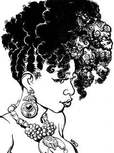 236x316 natural hair drawings