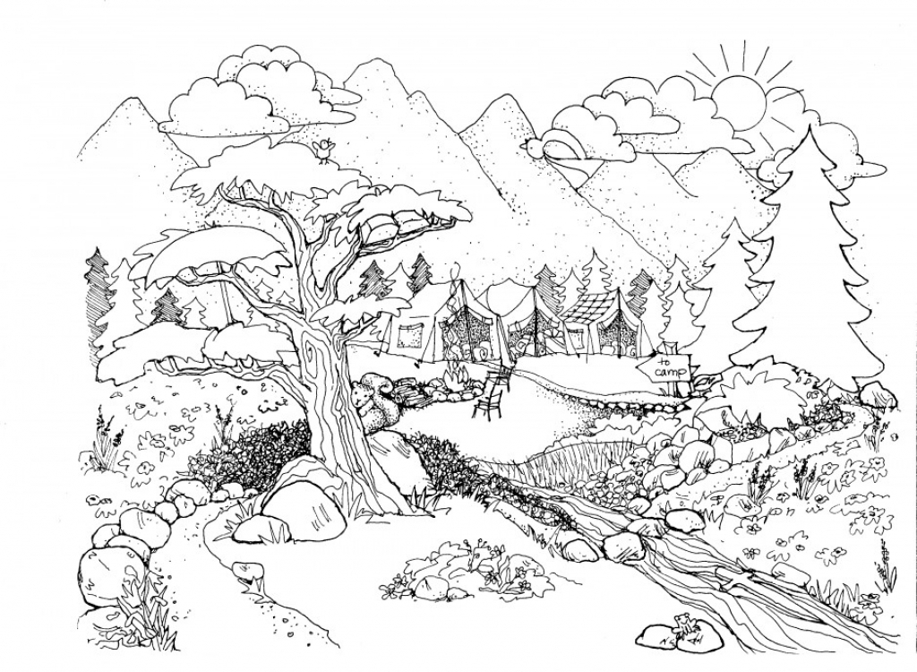 1024x750 Coloring Pages For Adults Nature Funny Image Printable
