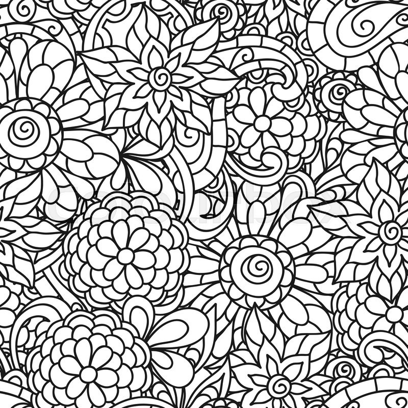 800x800 Seamless Nature Pattern With Line Flowers For Adult Coloring Page