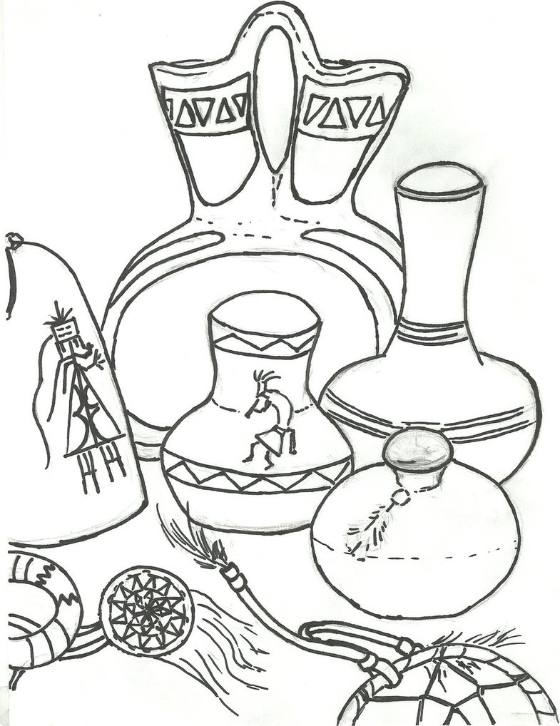 785x1018 Navajo Art Still Life Drawing By Haleygottardo