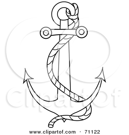 450x470 Blue Anchor Sketch Clipart