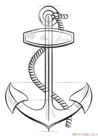 416x575 How To Draw An Anchor With Rope Step By Step Drawing Tutorials