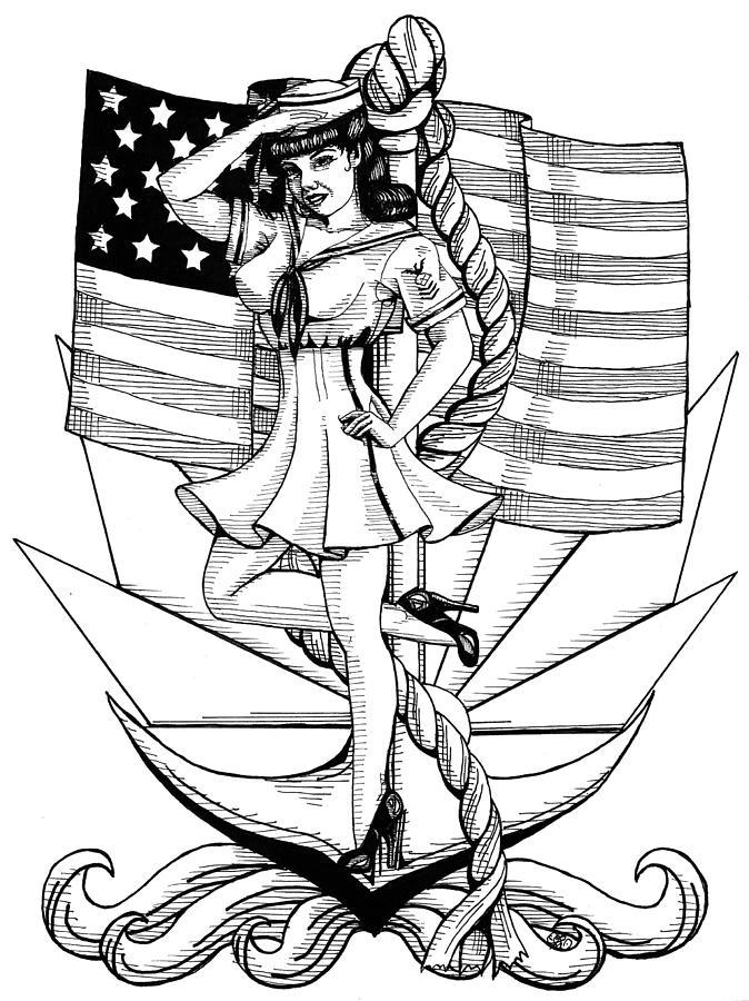 674x900 Navy Pin Up Girl Drawing By Scarlett Royal