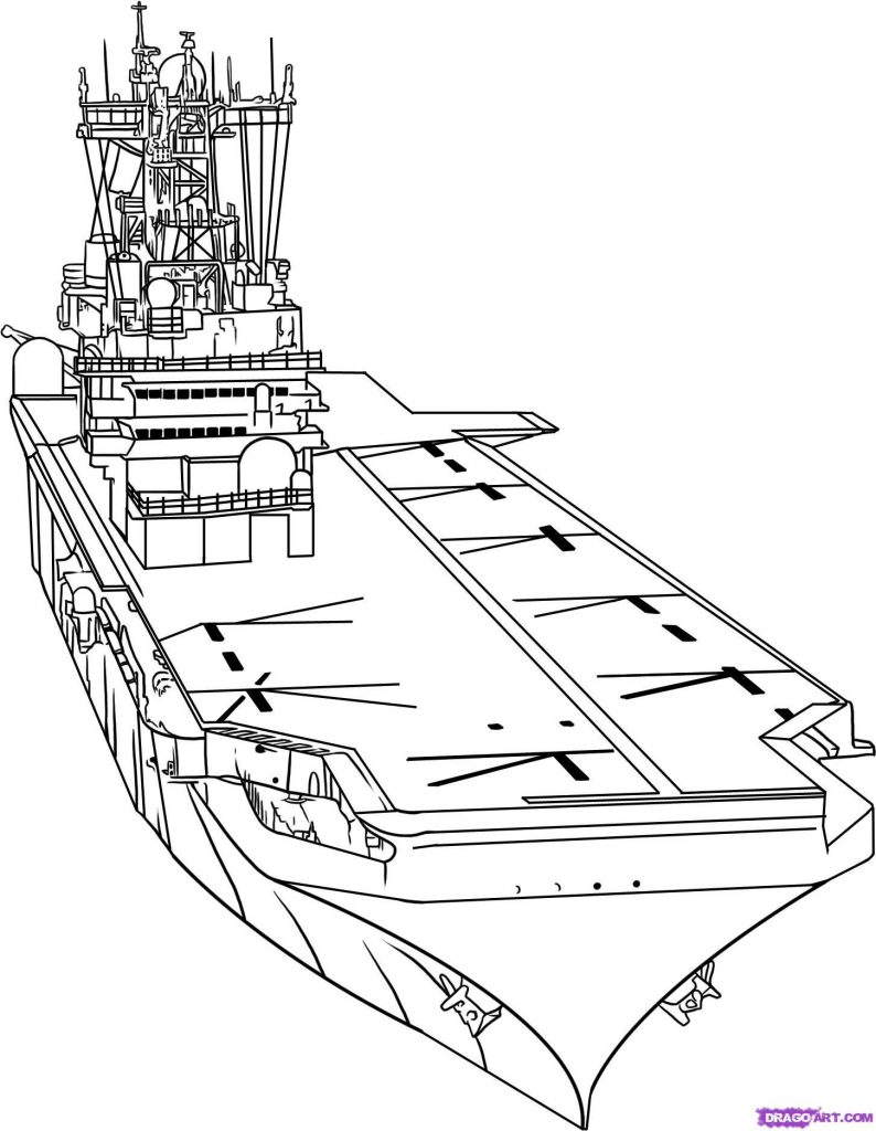 794x1024 Aircraft Carrier Coloring Sheet