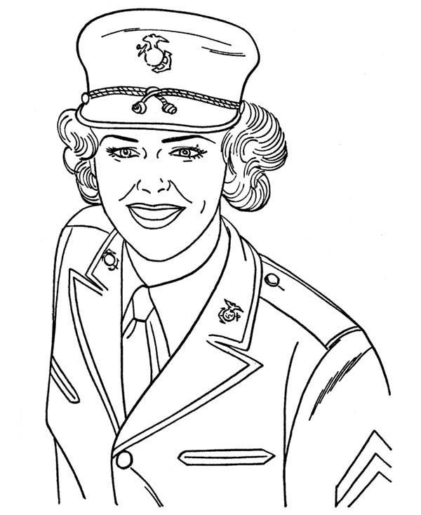600x734 Us Navy Military Woman Soldier In Armed Forces Day Coloring Page