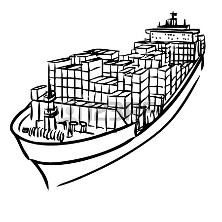 450x450 Freehand Sketch Illustration Of Cargo Ship With Containers Icon