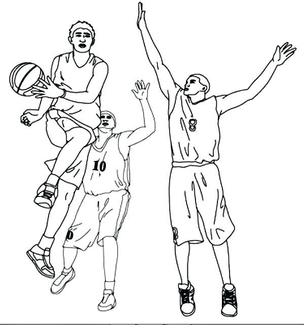 600x642 Coloring Pages Nba Logos Drawings Basketball Players