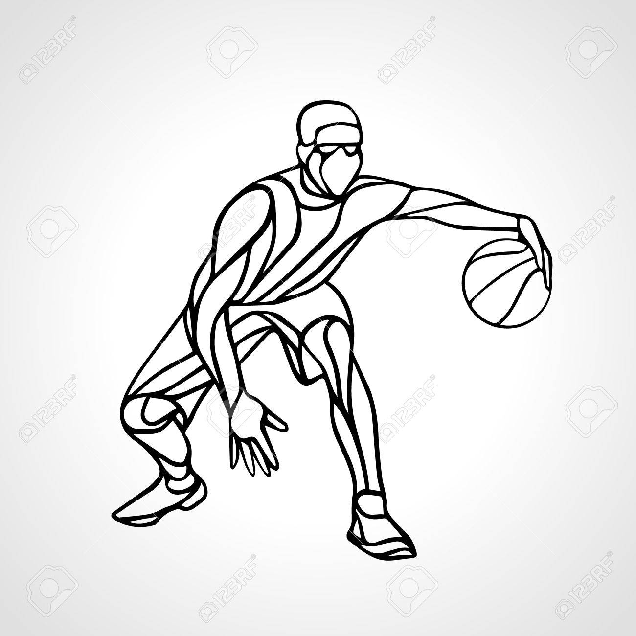 1300x1300 Basketball Player Abstract Silhouette. Crossover Dribble. Royalty