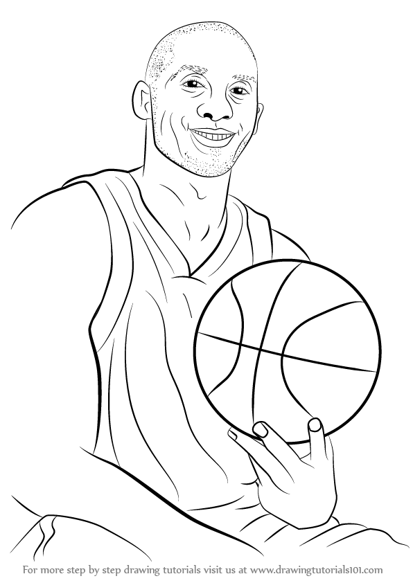 596x842 Learn How To Draw Kobe Bryant (Basketball Players) Step By Step