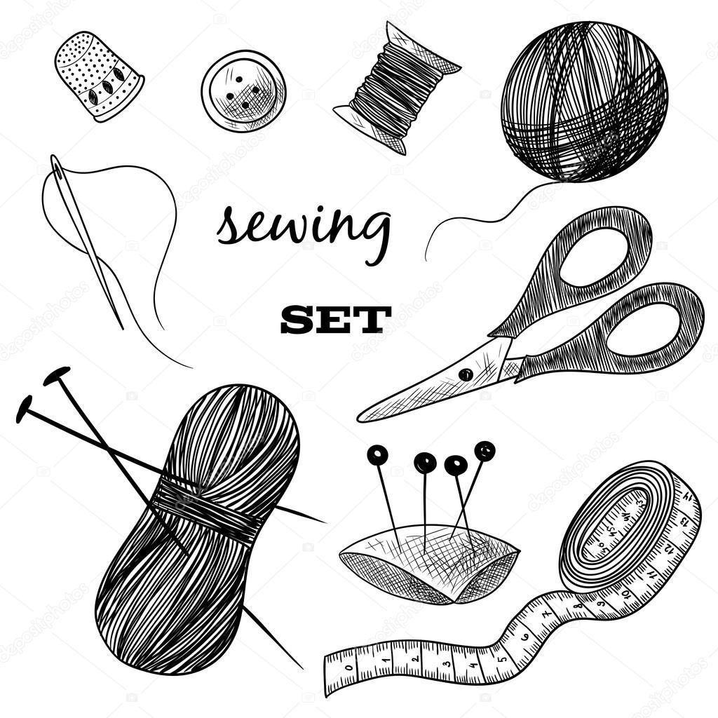 1024x1024 Sewing Set. Thimble, Needle, Thread, Bobbin, Scissors. Black