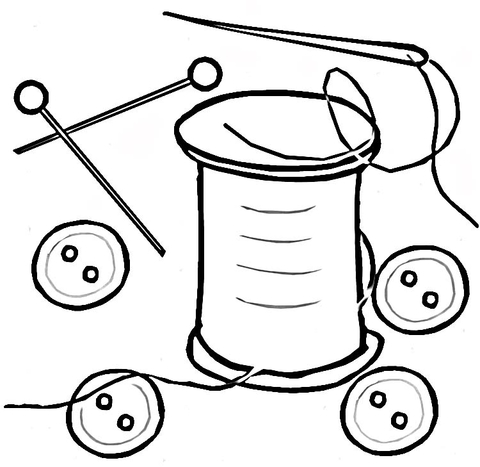 480x467 Buttons, A Pin And A Thread With A Needle Coloring Page Free