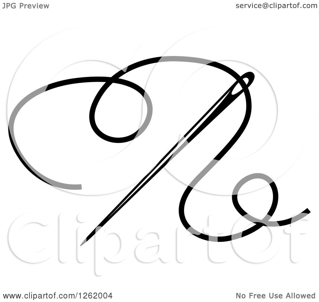 1080x1024 Clipart Of A Black And White Sewing Needle And Thread