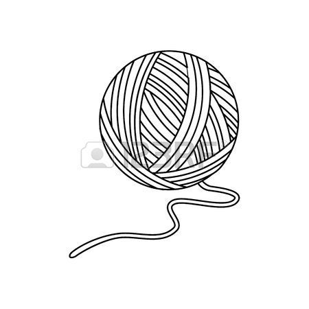 450x450 Raster Illustration Outline Drawing Or Yarn Ball For Knitting