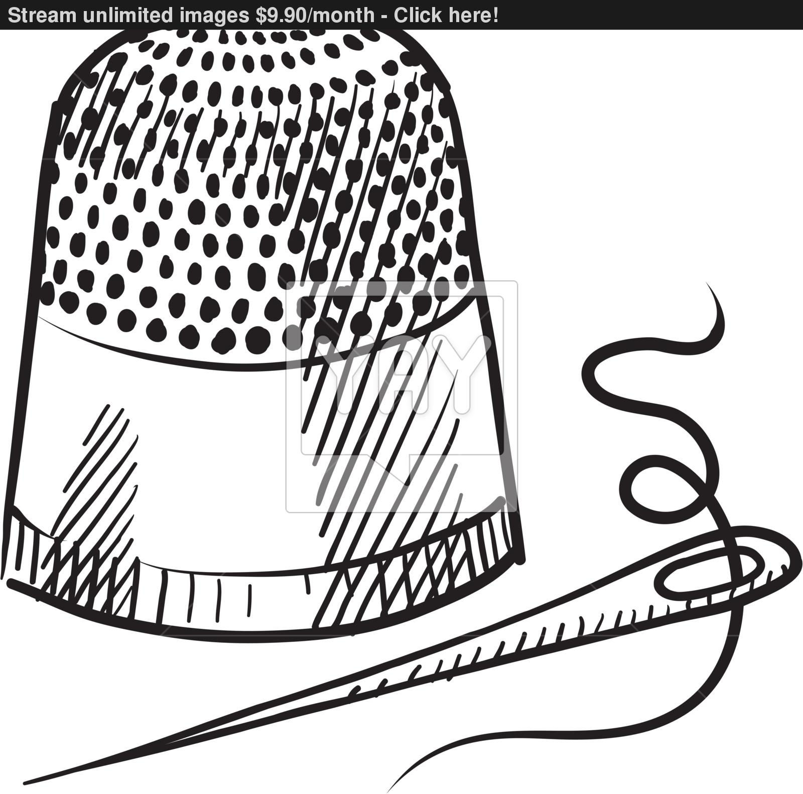 1600x1582 Thimble And Needle Sketch Vector