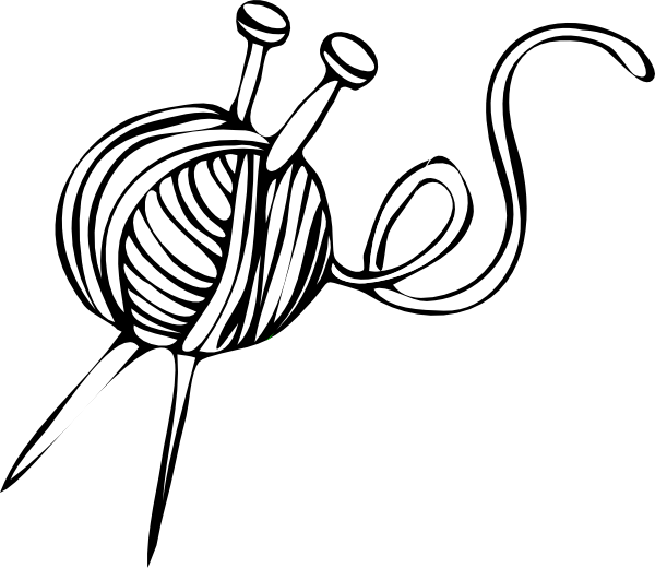 600x520 White Yarn Ball With Knitting Needles Clip Art