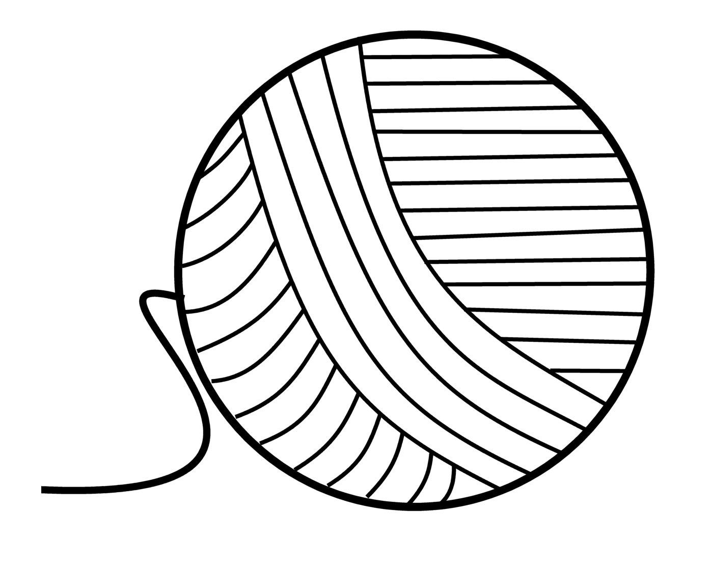 1392x1107 Ball Of Yarn Drawing Vector Image Ball Yarn Knitting Needles Stock