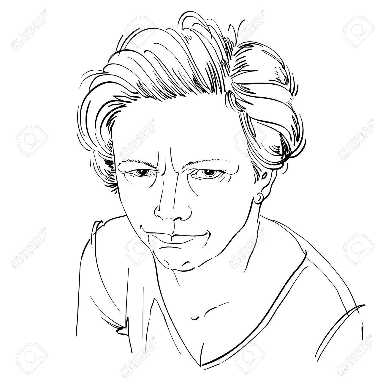 1300x1300 Art Drawing, Portrait Of Angry Girl Isolated On White. Facial