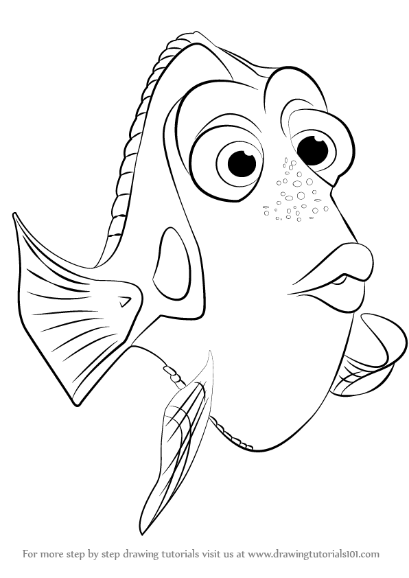 596x842 Learn How To Draw Dory From Finding Dory (Finding Dory) Step By