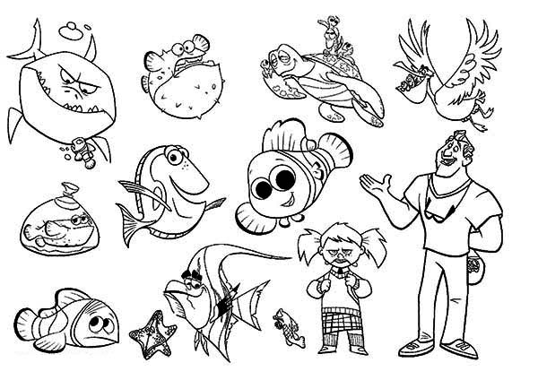 600x424 Finding Nemo Characters Coloring Pages