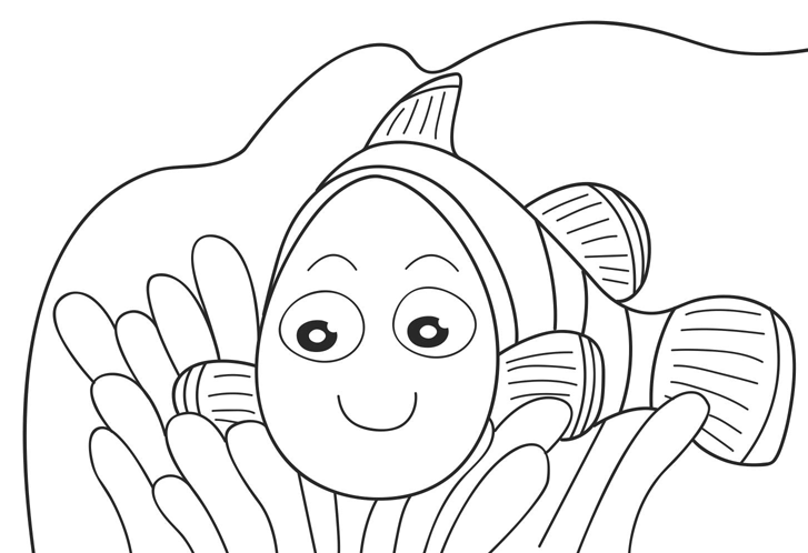 727x498 Nemo Preschool Coloring Pages Fish Cartoon Coloring Pages