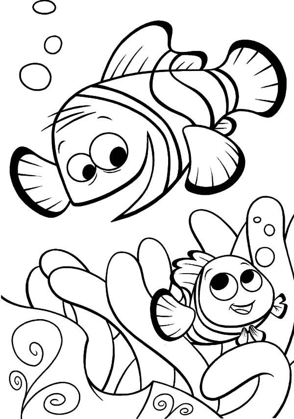 600x856 Clown Fish Nemo And His Father Coloring Pages Best Place To Color
