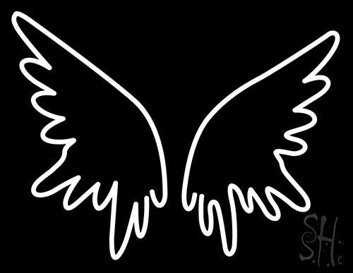 500x387 White Wings Neon Sign Animals Neon Signs Neon Light