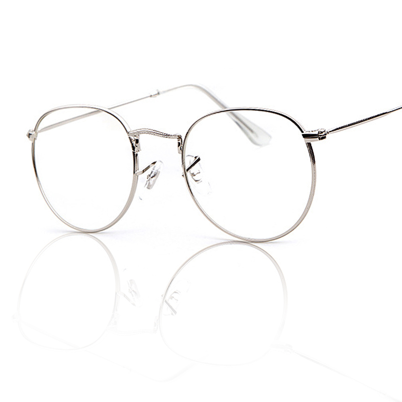 800x800 Fashion Gold Glasses Frame Women Men Round Metal Frame Mirror