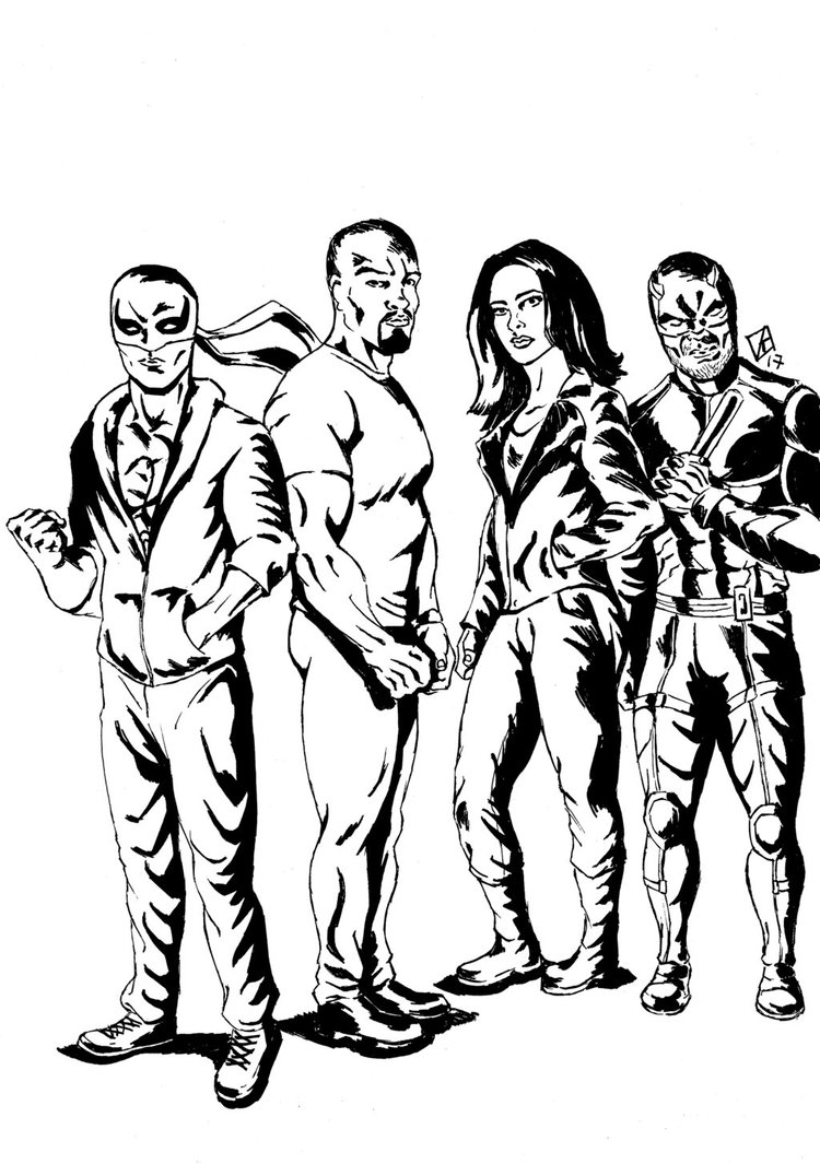 750x1065 Marvel's Netflix The Defenders Sketch By Rafaelskywalker