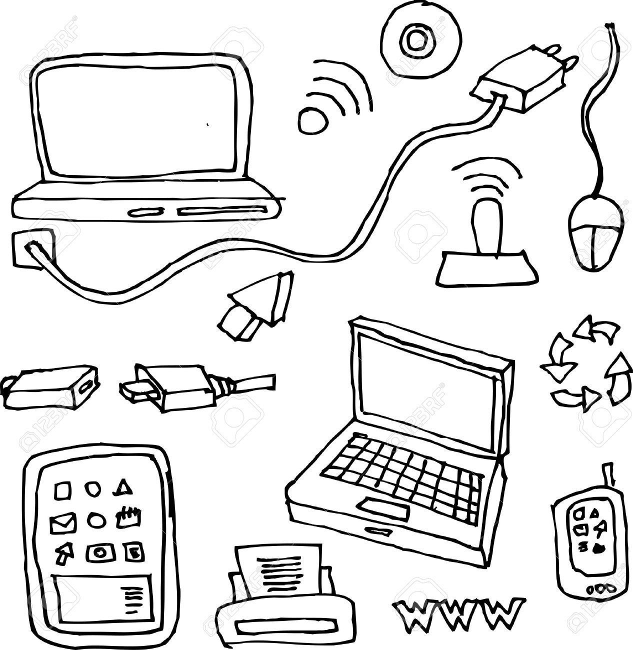 1266x1300 Drawing By Hand Of Computers, Tablets, Printers, Cables