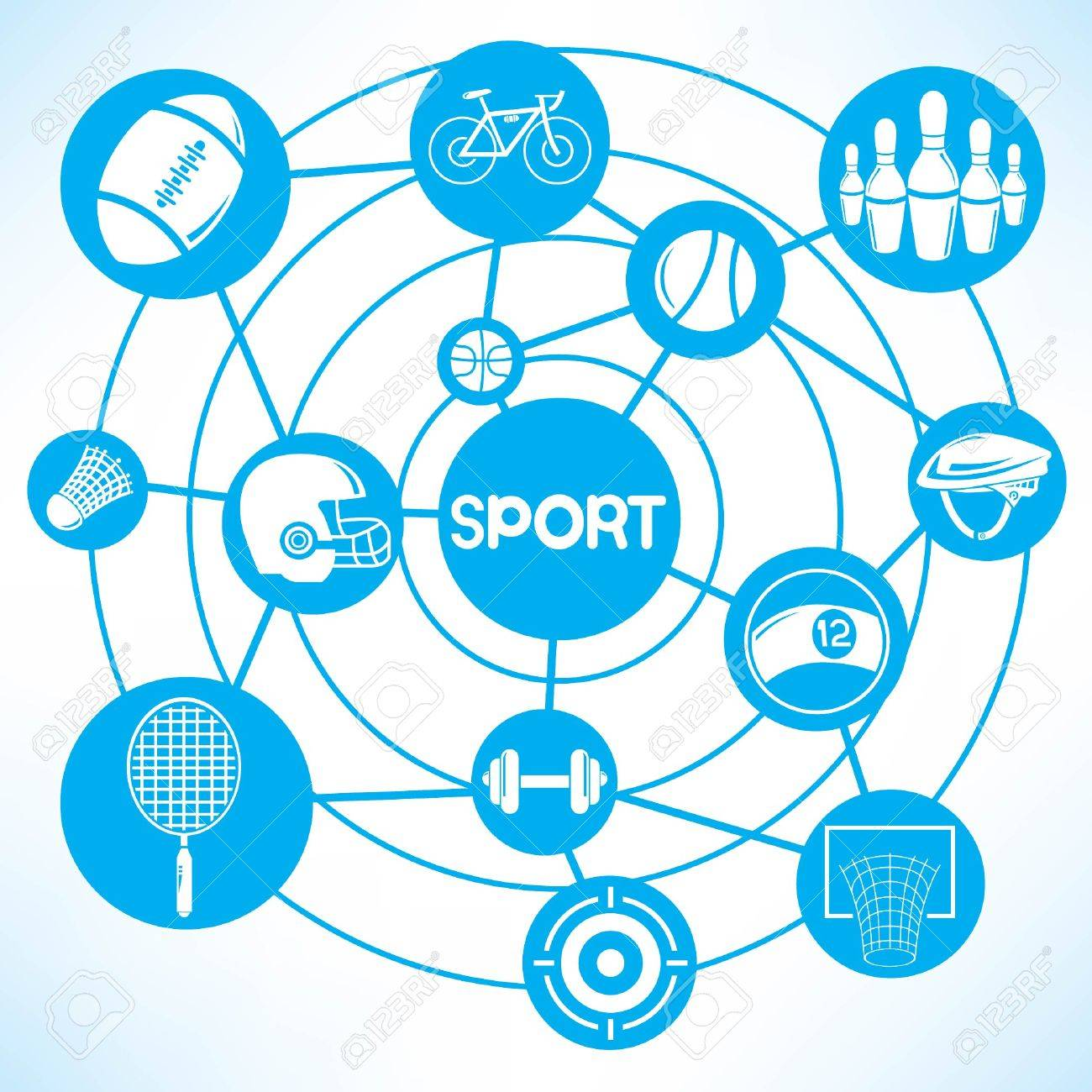 1300x1300 Sport Network, Blue Connecting Network Diagram Royalty Free