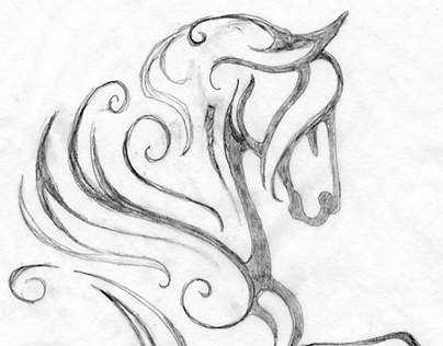 404x316 My Latest Horse Logo Design. Here Is Rough Pencil Drawing.
