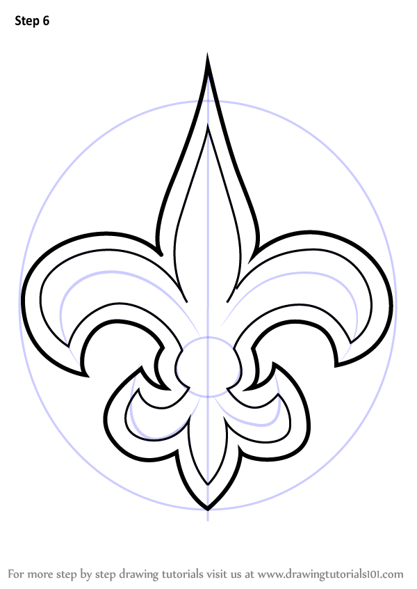 600x846 Learn How To Draw New Orleans Saints Logo (Nfl) Step By Step
