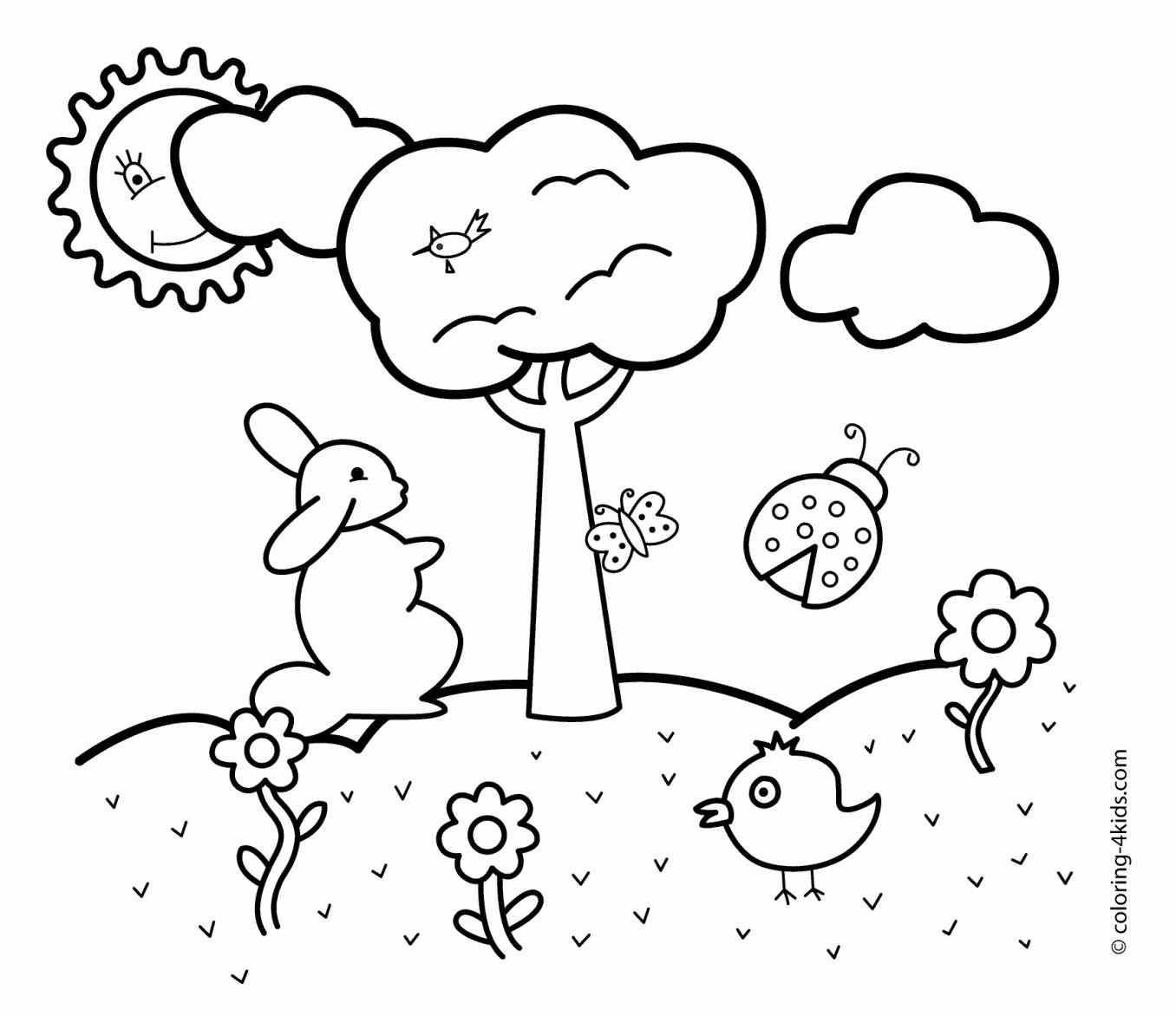 1356x1172 Simple Nature Coloring Pages New Easy Landscape Drawings Step By