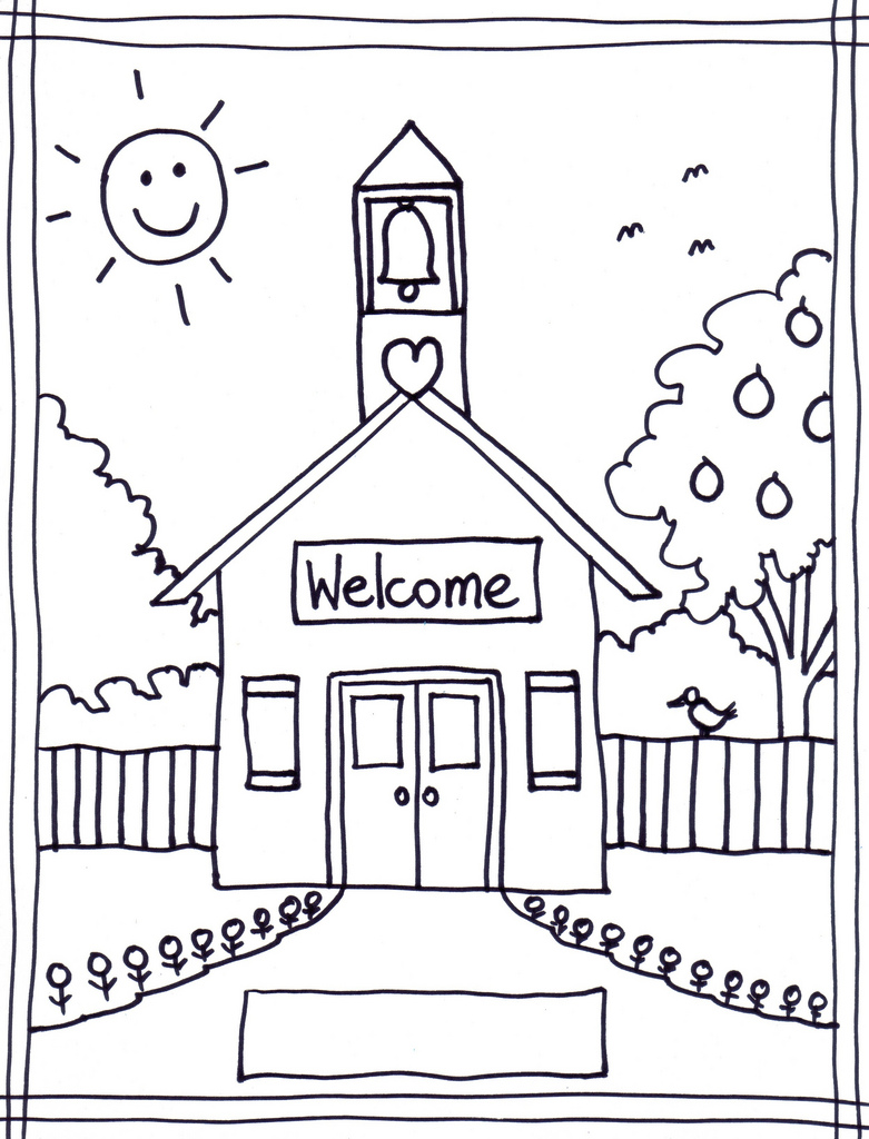 781x1024 Coloring Pages Of School House Wallpaper