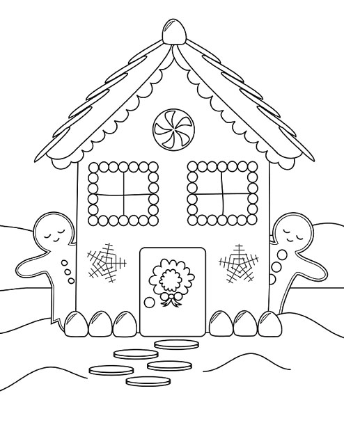 494x611 New Gingerbread House Coloring Pages 85 About Remodel Model