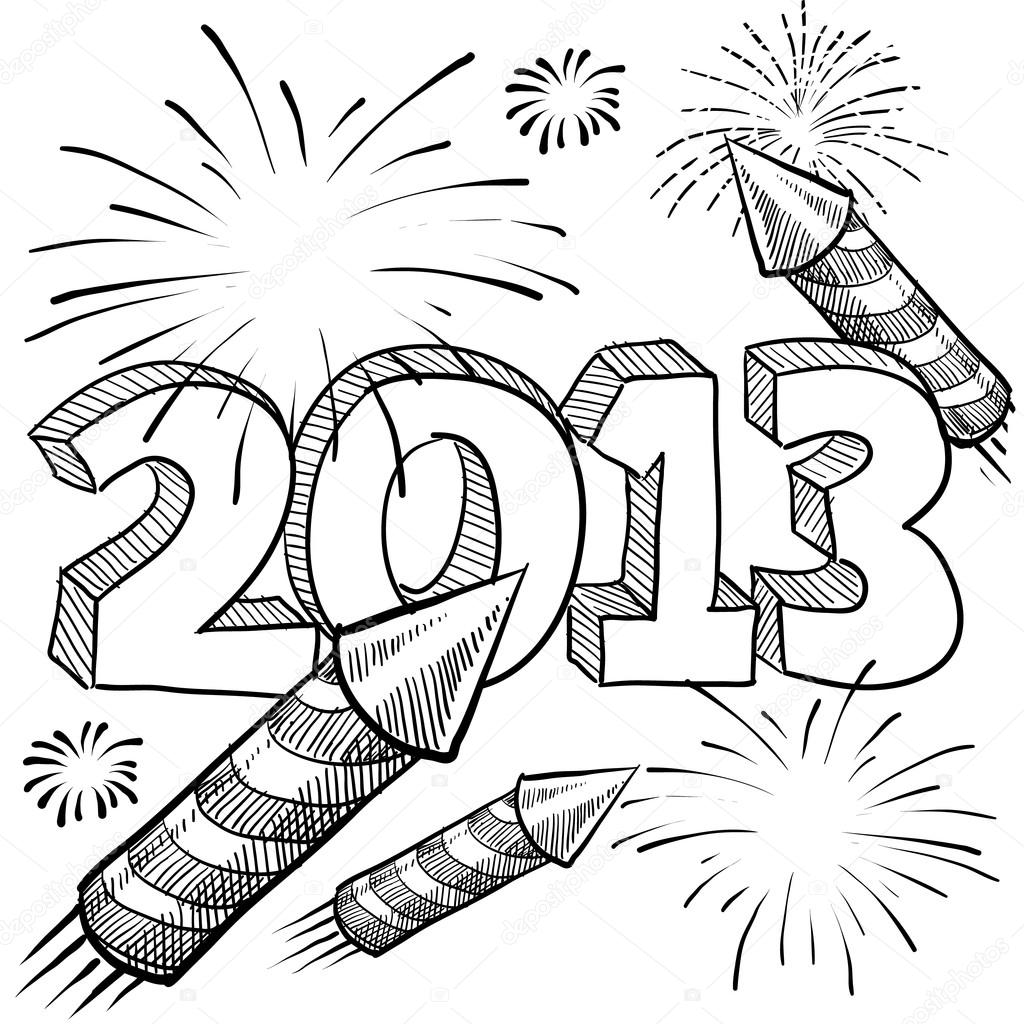 New Year Celebration Drawing