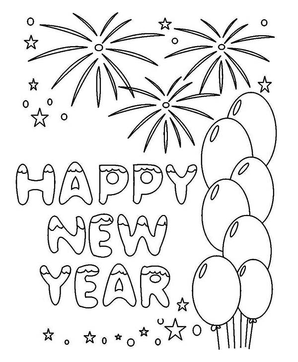 New year drawing at getdrawings free for personal use new year 600x729 new years greeting card coloring page m4hsunfo