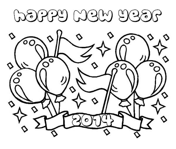 600x508 Happy New Year Coloring Pages For Kids